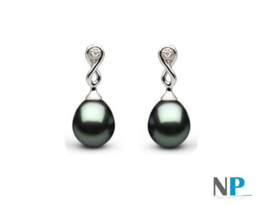 Boucles d'oreilles Or Gris Diamants et perles Drop de Tahiti en forme goutte