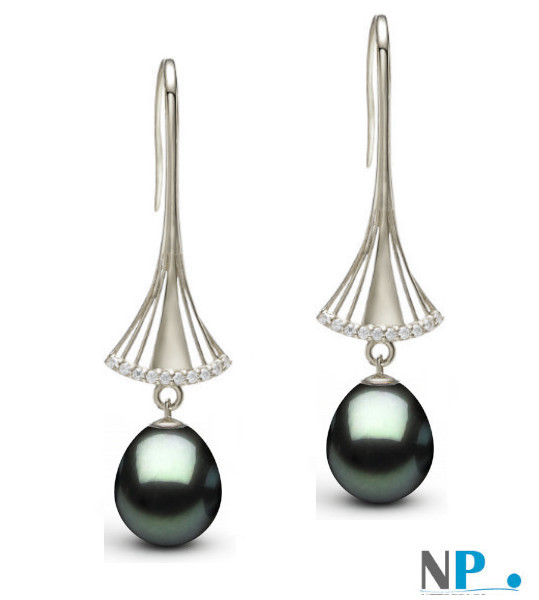 Boucles d'oreilles en or gris 9k avec perles de Tahiti gouttes et diamants