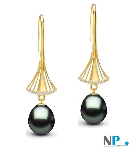 Boucles d'oreilles en or jaune 9k avec perles de Tahiti gouttes et diamants