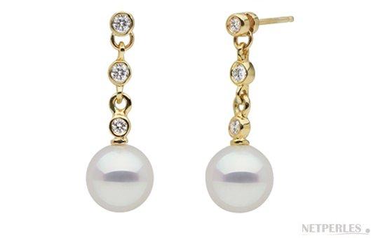 Boucles d'oreilles de perles d'eau Douce DOUCEHADAMA en Or Jaune