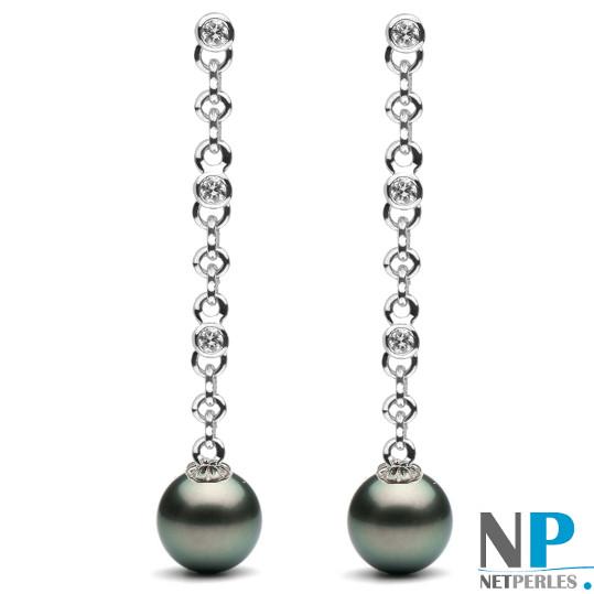 Boucles d'oreilles en Or Gris et DIamants avec perles de Tahiti AAA