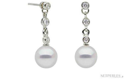 Boucles d'oreilles de perles DOUCEHADAMA en Or Gris et diamants