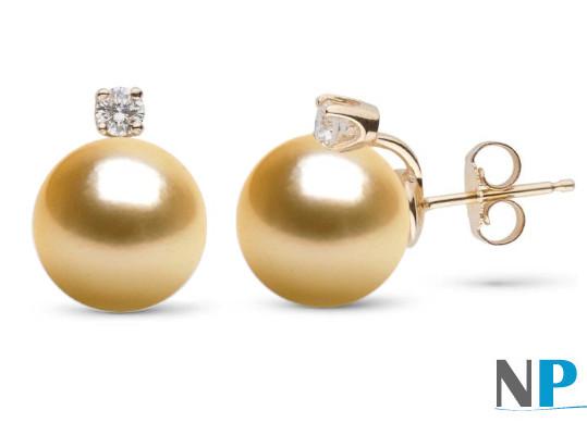 Boucles d'oreilles de perles de culture d'Australie dorées et diamants sur Or Jaune 18k