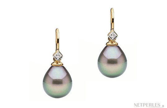 Boucles d'oreilles Or Jaune avec diamants et Perles de Tahiti Gouttes AAA