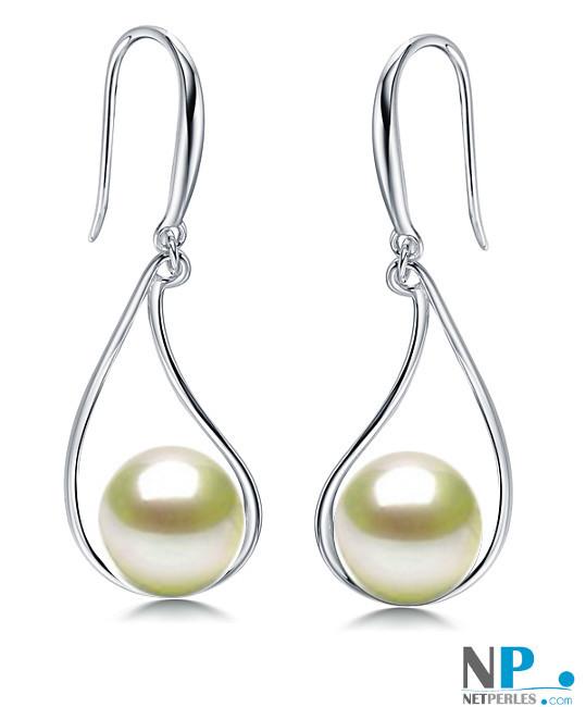 Boucles d'oreilles avec perles d'Akoya  en Argent 925