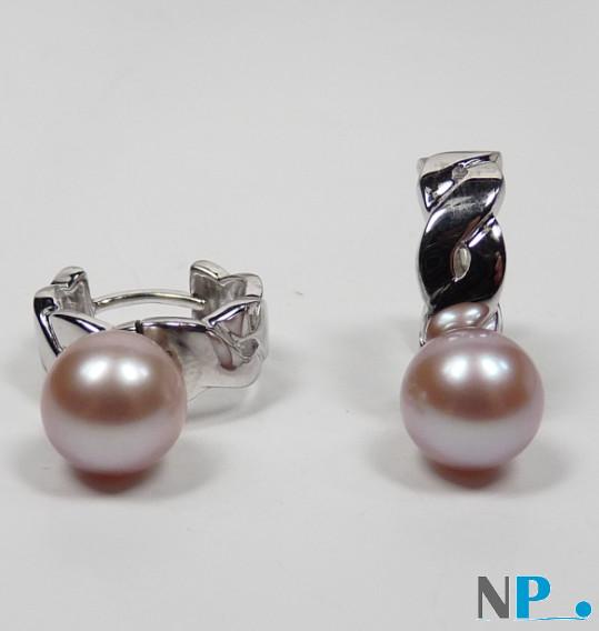 Boucles d'oreilles en Argent 925  perles de culture d'eau douce lavandes 8-9 mm AAA