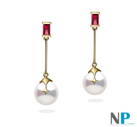 Boucles en Or Jaune avec rubis et perles d'eau douce blanches