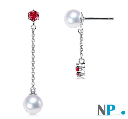 Boucles d'oreilles de perles de culture d'Akoya blanches et pierres tourmalines rouges