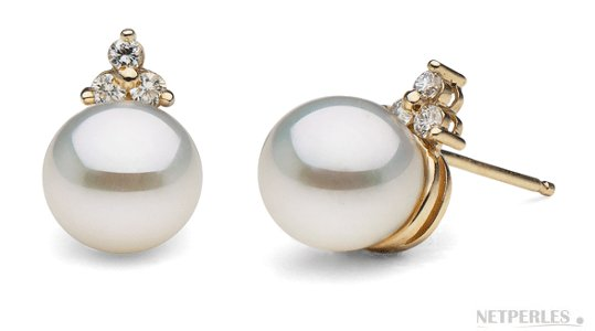 Boucles d'oreilles en or et diamants avec perles d'Akoya AAA
