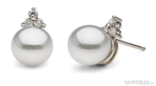 Boucles d'oreilles en or gris 18k et diamants avec perles d'Akoya AAA
