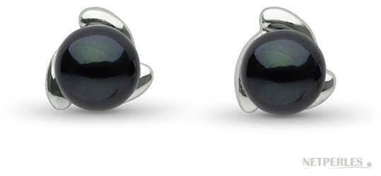 Boucles d'oreilles de perles noires d'Akoya en argent rhodié