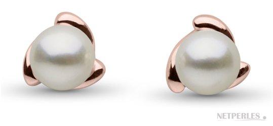 Boucles d'oreilles de perles blanches d'Akoya en Or Rose