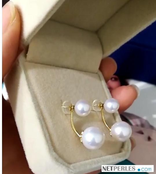 Boucles d'oreilles en Or 18k avec deux perles d'eau douce AAA