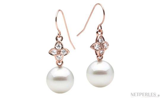Boucles d'oreilles Or Rose Diamants et  perles d'Australie blanches argentées
