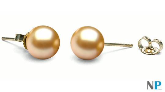 Boucles d'oreilles de perles dorées d'Akoya