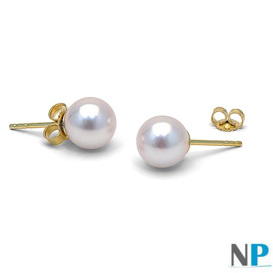 paire de boucles d'oreilles de perles de culture d'akoya