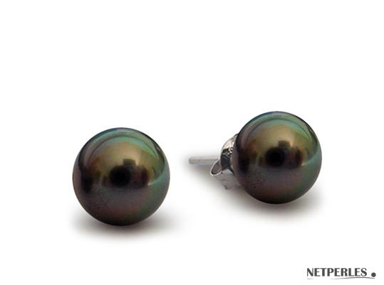 Paire de boucles d'Oreilles de perles de culture de Tahiti qualité AAA