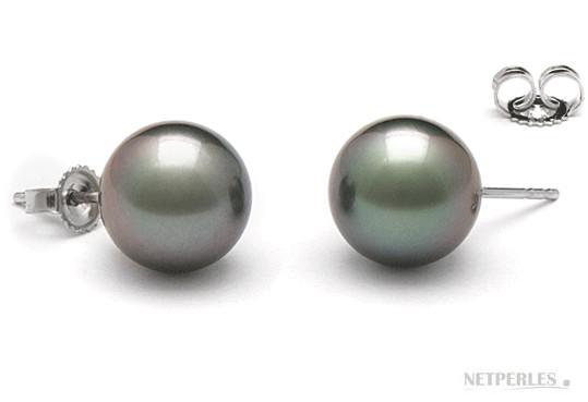 Paire de boucles d'Oreilles de perles de culture de Tahiti qualité AAA gros diamètres