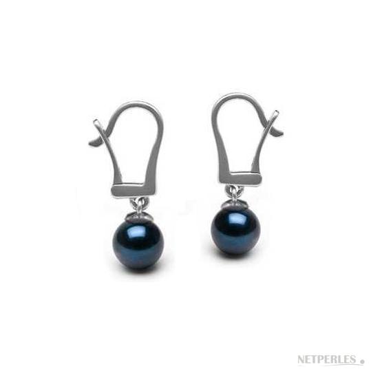 paire de boucles d'oreilles de perles de culture d'akoya noires montées sur dormeuses