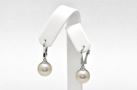 Dormeuses en Or 14 carats avec superbes perles d'Australie blanches argentées