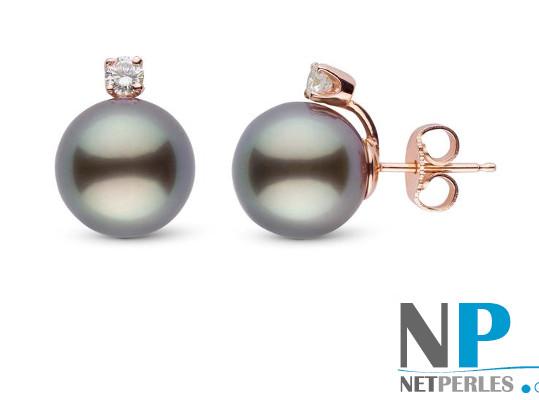 Boucles d'oreilles de perles de culture de Tahiti et diamants