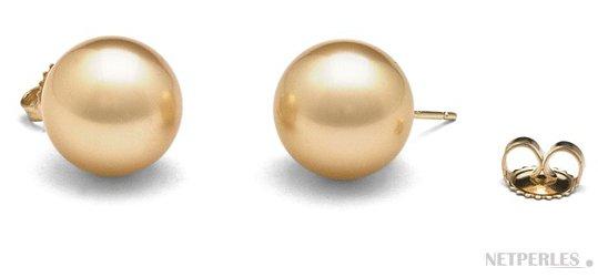 Paires de boucles d'oreilles de perles de culture d'australie doiree qualité AAA