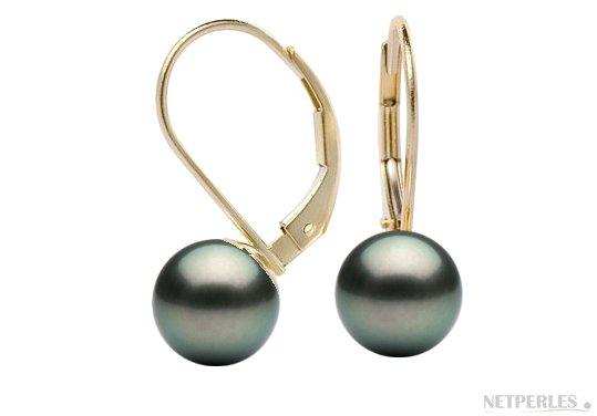 Boucles d'oreilles sur dormeuse en Or 14 carats avec perles noires de Tahiti