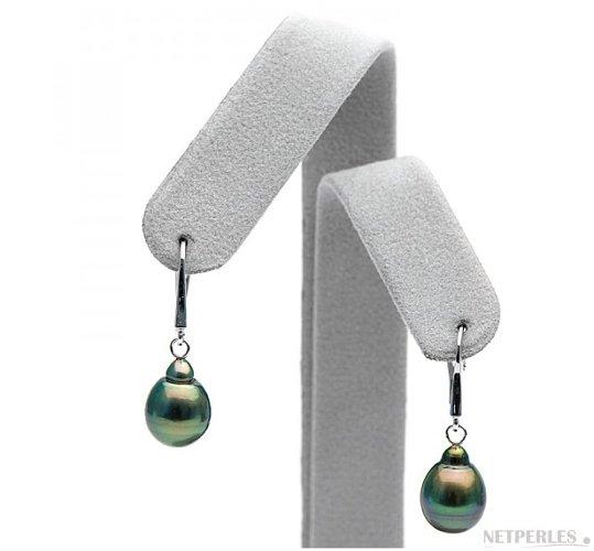 Boucles d'oreilles de perles de Tahiti baroques sur dormeuses en Or Gris