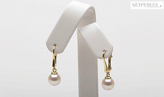 Perles d'eau douce qualité Doucehadama sur dormeuses en or 14 carats