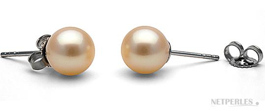 paires de boucles d'oreilles de perles de culture d'eau douce peche, qualité AAA