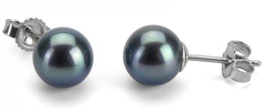 Boucles d'oreilles en perles noires d'eau douce qualité AAA