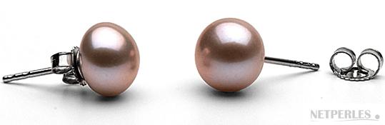 Paire de boucles d'oreilles de perles de culture d'eau douce couleur Lavande
