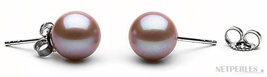 Paire de boucles d'oreilles de perles de culture d'eau douce lavande qualité AAA