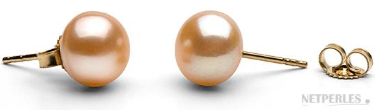 Paire de boucles d'oreilles de perles de culture d'eau douce peche qualité AA+