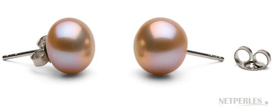 Paire de boucles d'oreilles de perles de culture d'eau douce lavande gros diamètre qualité AA+