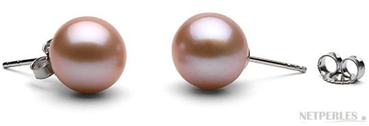 Paire de boucles d'Oreilles de perles de culture d'eau douce couleur lavande qualité AAA