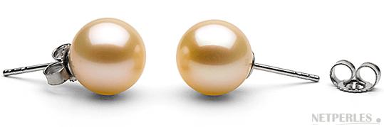 Paire de boucles d'oreilles de perles de culture d'eau douce Pêche qualité AAA