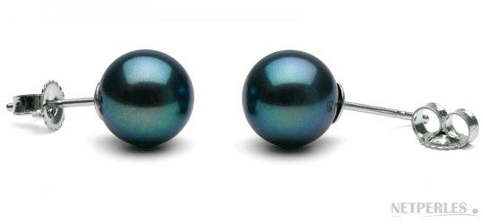 Boucles d'oreilles de perles d'eau douce noires