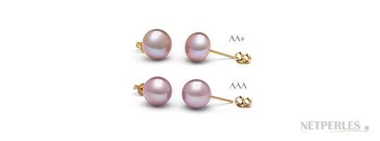 Boucles d'oreilles de perles d'eau douce Lavande grand diamètre