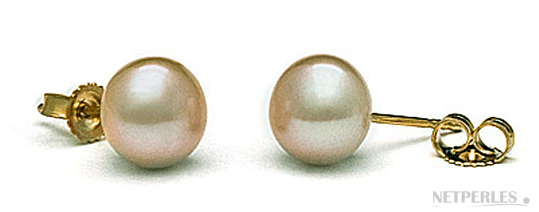 Paire de boucles d'oreilles de perles de culture d'eau douce gros diamètre pêche