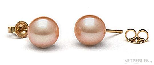 Paire de boucles d'oreilles de perles de culture d'eau douce qualité AAA gros diamètre