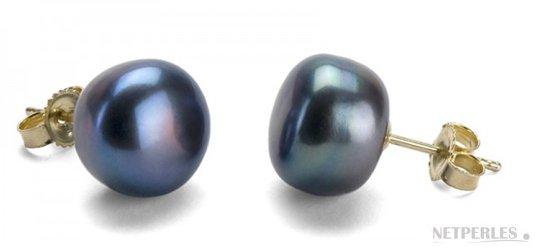 Boucles d'oreilles de perles d'eau douce noires 10-11 mm forme de bouton