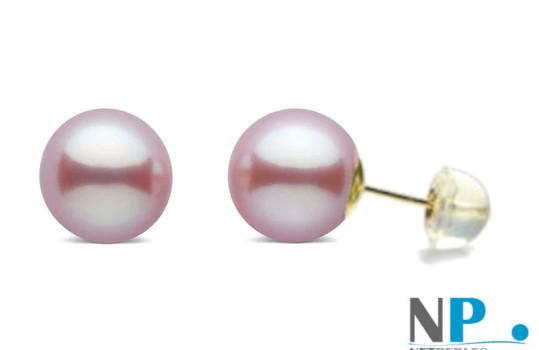 Orecchini di perle d'acqua dolce di qualità DOLCEHADAMA colore naturale lavanda con perni in oro 18k