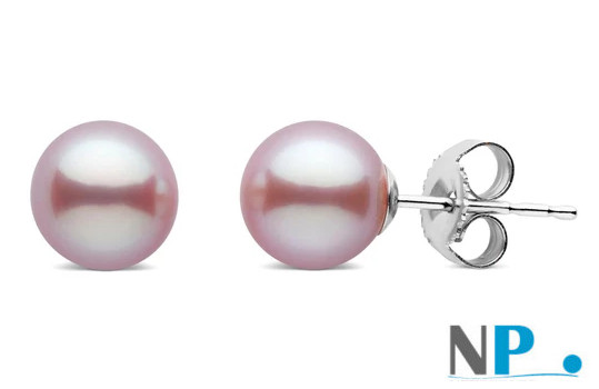 Paire de boucles d'oreilles de perles de culture d'eau douce blanches qualité Doucehadama de 6,5 à 7,0 mm