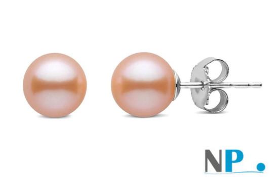 Paire de boucles d'oreilles de perles de culture d'eau douce qualité Doucehadama de 6,5 à 7,0 mm