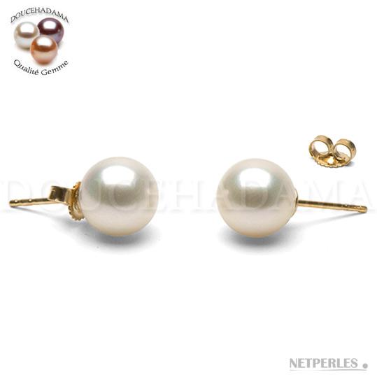 Boucles d'oreilles de perles d'eau douce Doucehadama