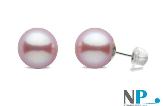 Boucles d'oreilles de perles de culture avec tige en Or 18k et papillon en silicone