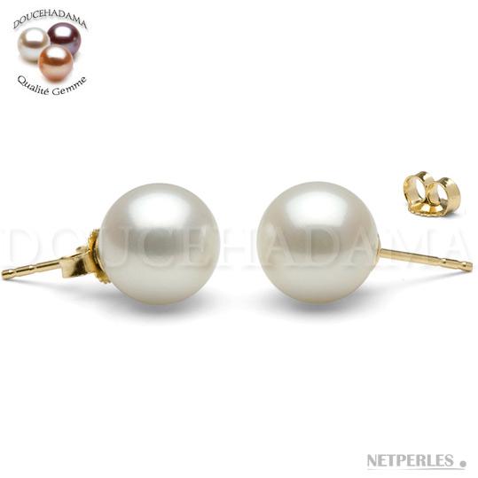 Boucles d'oreilles de perles d'eau douce Doucehadama 9-9,5 mm