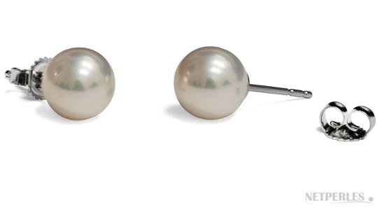 Boucles d'oreilles de perles de culture d'eau douce Blanches Métalliques, qualité Doucehadama