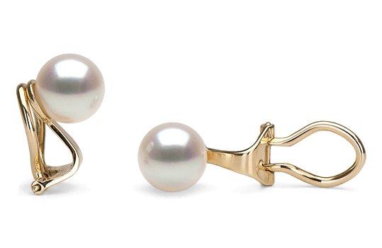 Clips d'oreilles avec perles de culture d'Akoya